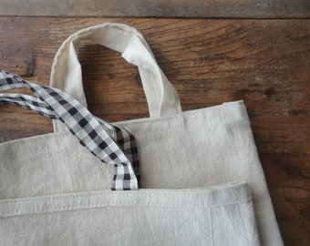 soft RAMIE shoulder bag with handles in linen-cotton mix, hand-made from heavy smooth ramie in off white / beige