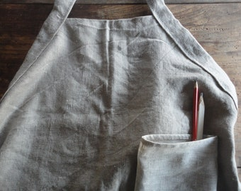 raw linen APRON with pocket for gardening or other home/hand crafts, hand-made from heavy raw linen or other fabric / ramie, hemp, jeans