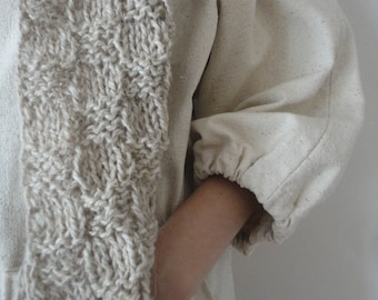 long SCARVE, hand knitted from natural hemp-wool mixture in natural color