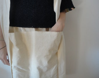 handwoven cotton SKIRT (short, midi, long) with front or back pockets, handmade from handwoven cotton in off white, cobalt or indigo blue