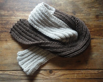 hand knitted SHAWL / SCARVE , hand made from soft natural wool in different lengths / colors and / or color combinations