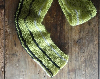 narrow wool SHAWL / SCARVE / NECKLACE , hand knitted from natural wool in different shades in your own combination
