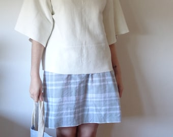 OUTFIT nr. 8 // spring-summer 2021: organic cotton plaid dress with heavy cotton-hemp sweater and raw silk-linen tote (size S)