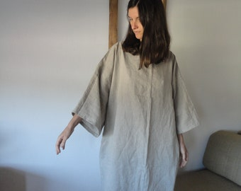 light linen tunic DRESS (short, midi, long / with pockets or without ), handmade from soft light linen in different colors