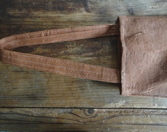 tree bark SHOULDER BAG with raw cotton inlet, hand-made from natural tree bark / vegan leather