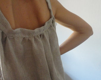 OUTFIT nr. 47 // linen gauze dress with raw edge, hand made from very light linen gauze in natural color