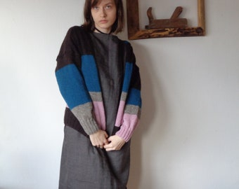 OUTFIT 13 // winter 2020: linen-wool skirt + linen-wool top (kimono or gathered sleeves) + knitted wool cardigan