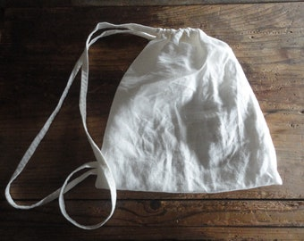linen STRING SACK, hand-made from midi-weight linen in natural or white