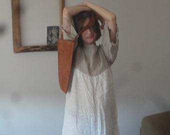 OUTFIT 4 // spring 2020: light linen dress with kimono sleeves + vegan tree bark shoulder bag