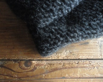 very soft wool  LOOP / SCARVE, hand knitted from very soft wool mohair in black, white and other colors