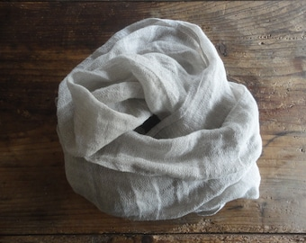 sheer linen SHAWL / SCARVE, hand made from sheer linen gauze in natural or other color