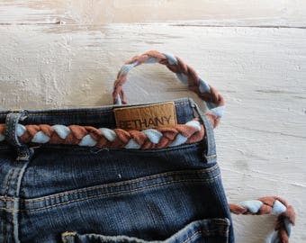 organic cotton BELT, hand knitted from thick cotton in different color combinations