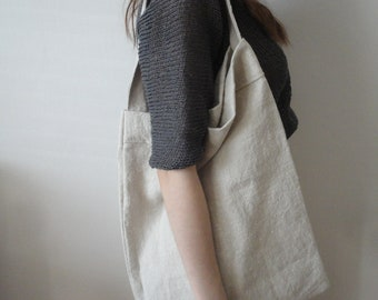 heavy soft linen SHOULDER BAG, hand-made from heavy soft linen in natural color