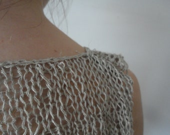 knitted linen TOP / DRESS, hand knitted from natural linen or linen in some other color