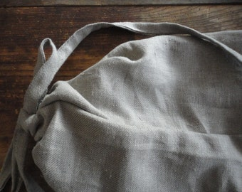 heavy linen BACKPACK / STRING SACK with strings closure, hand-made from heavy linen in natural color