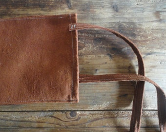 tree bark SHOULDER / CROSSBODY BAG with raw cotton inlet, hand-made from natural tree bark / vegan leather