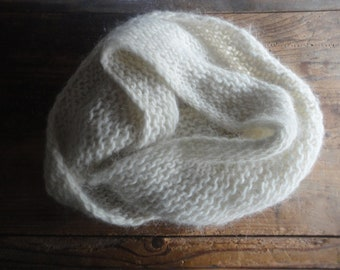 very soft wool  LOOP / SCARVE, hand knitted from very soft wool mohair in white, black or other colors