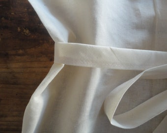 light weight raw cotton APRON _ long, sommelier or for cooking, hand-made from raw light weight cotton in off white