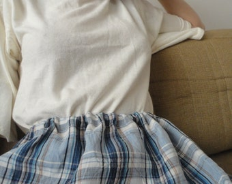 OUTFIT nr. 69 // plaid linen skirt and soft hemp-cotton jersey top with short sleeves plus hemp or plaid linen tote (SPRING 2020)