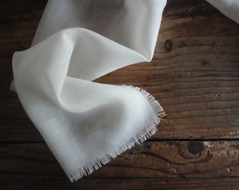 wool SCARVE / SHAWL with fringes, handmade from three different weights of soft wool fabric / gauze, muslin or twill