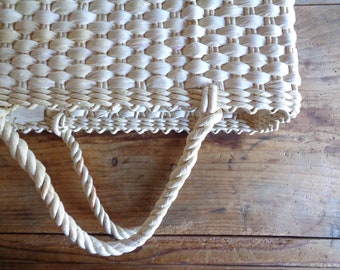 handwoven MARKET / SHOPPING bag / basket with handles _ square, handmade from natural husk // eco, sustainable