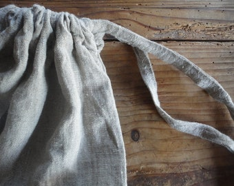 large LINEN string sack, made from heavy linen in natural or white