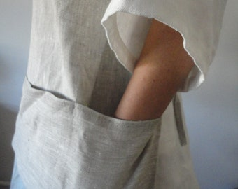heavy linen APRON with pocket for gardening or other home / hand crafts, hand-made from heavy linen in melange, natural/white or other color