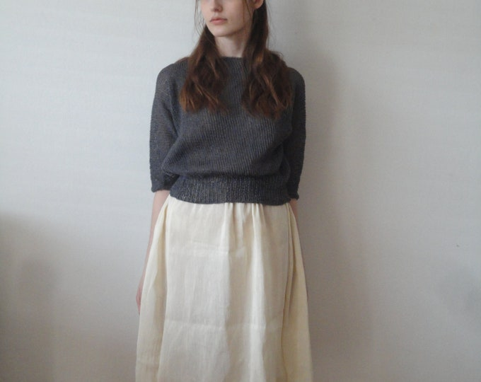 Featured listing image: OUTFIT nr. 12 // light midi chic hemp-silk skirt, knitted linen sweater in dark grey and various linen totes + ring (SPRING/SUMMER 2019)