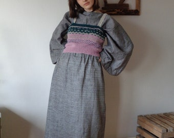 OUTFIT 10 // winter 2020: linen-wool skirt + linen-wool top (kimono or gathered sleeves) + knitted wool vest