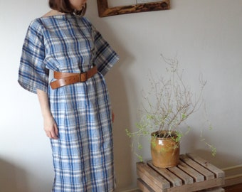 OUTFIT 11 // autumn 2020: plaid linen dress with kimono sleeves