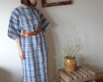 OUTFIT 11 // autumn 2020: plaid linen dress with kimono sleeves