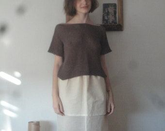 OUTFIT 12 // summer 2020: double raw cotton skirt + hand knitted hemp - cotton top