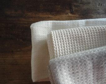very soft TOWELS (face, hand, bath), handmade from very soft organic cotton, hemp or linen pique / waffel fabrics