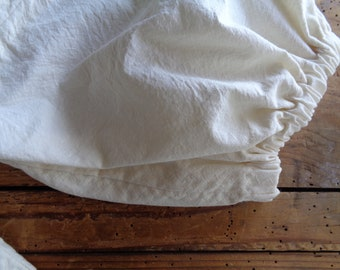 firm raw cotton DRESS (short, midi, long) with short / midi or long sleeves,  handmade from soft light organic cotton in off white / creme