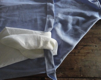 heavy linen APRON for cooking and cleaning of your home, hand-made from light blue heavy linen or some other color / see the photos