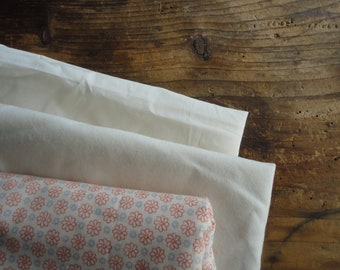 organic cotton DUVET / PILLOW (envelope or ties) / SHEET (flat or fitted), hand made from cooling or warming organic cotton in off white