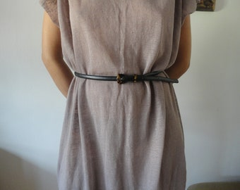 OUTFIT nr. 64: linen jersey DRESS (raw edge, simple cut), hand made from light linen jersey in pink