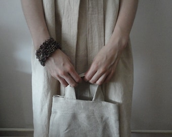 natural HEMP hand or shoulder bag, hand-made from soft and heavy natural hemp canvas