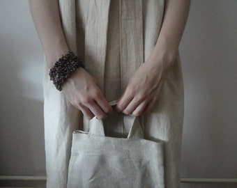 natural hemp SHOULDER or HAND BAG, hand-made from soft and heavy natural hemp canvas
