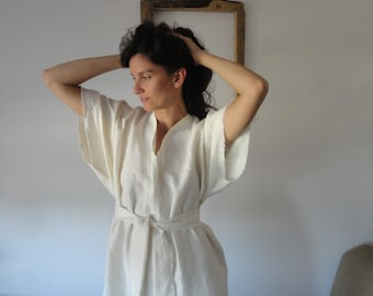 OUTFIT nr. 66 // hemp kaftan DRESS with belt, hand made from midi weight hemp in creme