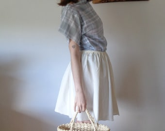 OUTFIT nr. 5 // spring-summer 2021: light organic cotton skirt with plaid organic cotton top / blouse (size XS - S)