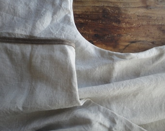 natural linen TUNIC / DRESS (short, midi, long ), handmade from midi weight linen in natural color and faux suede edges or without