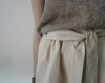 OUTFIT nr. 11 // midi long ramie skirt with tie, hand knitted linen top (both natural) and linen burlap or hemp tote (SPRING / SUMMER 2019)