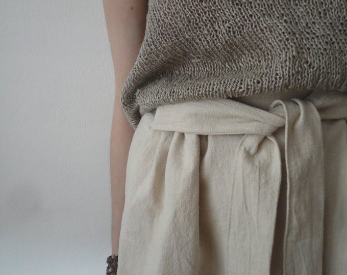 Featured listing image: OUTFIT nr. 11 // midi long ramie skirt with tie, hand knitted linen top (both natural) and linen burlap or hemp tote (SPRING / SUMMER 2019)