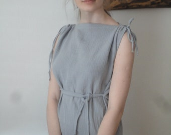 OUTFIT nr. 5 // soft double gauze tunic dress with ties on shoulders and belt