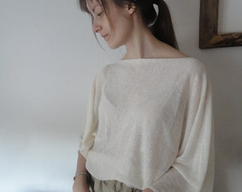 linen jersey TOP / SWEATER with butterfly sleeves (short, long or 3/4), made from light linen jersey in different colors