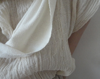 soft wild / raw silk LOOP / SCARVE, hand made from soft raw silk / wild silk jersey (in loop) with raw edges