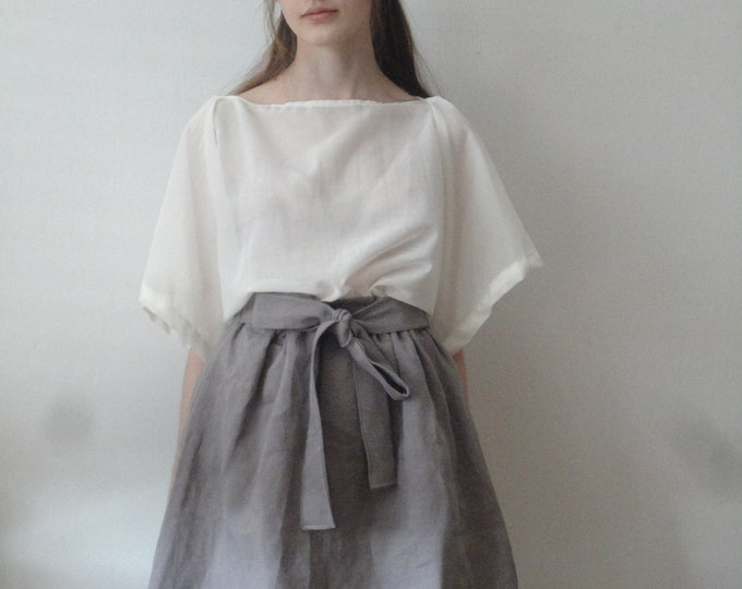 Featured listing image: OUTFIT nr. 10 // short pigeon lilac-grey skirt with tie, silky sheer kimono sleeve cotton top and knitted linen scarve (SPRING/SUMMER 2019)