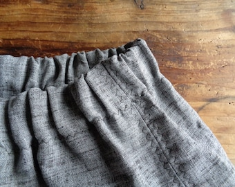 wool-linen SKIRT (wide, elastic waist), hand-made from double-colored linen in antracite and brown