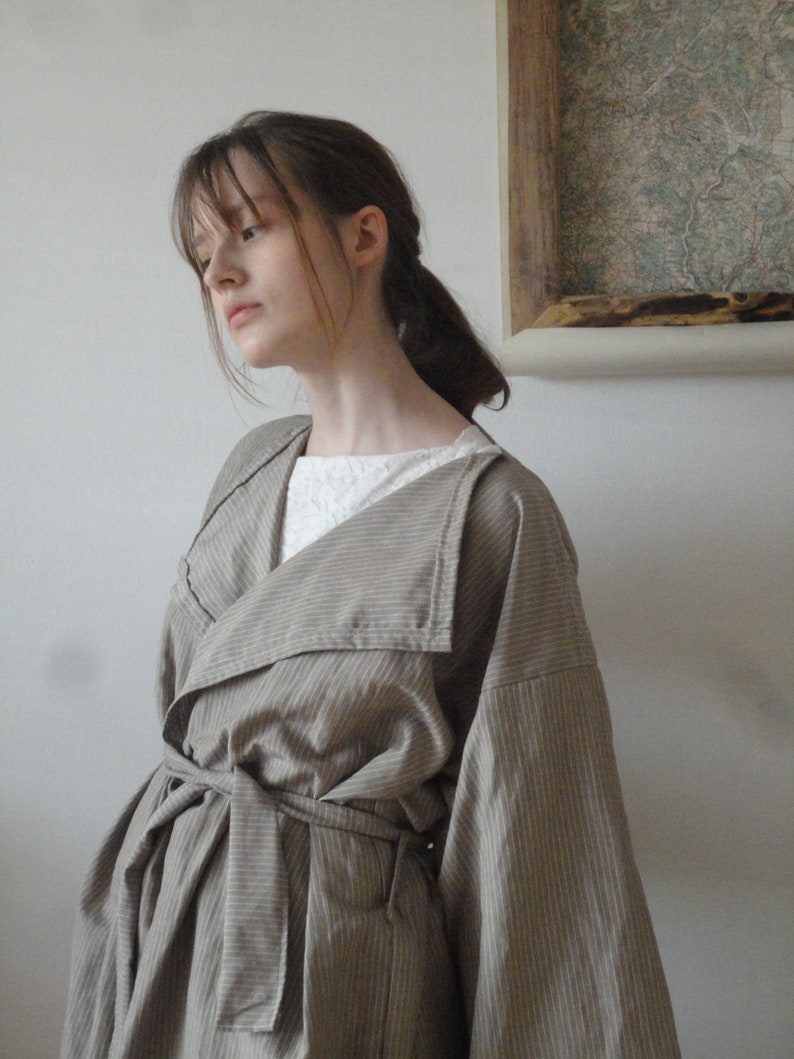 linen-silk COAT short midi long / with pockets or without  image 0